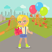 Young girl with balloons and present box in park with attractions. Little lady goes to party. Blonde toddler with colourful air balloon. Children every day activities. Vector in flat style design