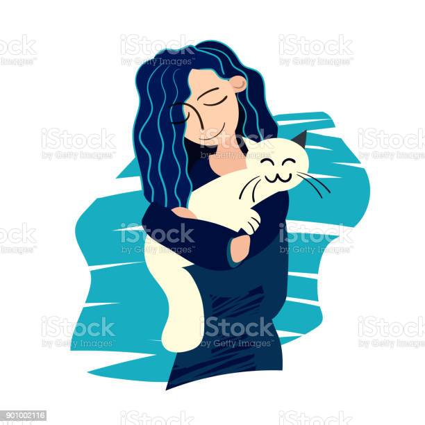 Young girl with blue hair hugging a happy white cat vector id901002116?b=1&k=6&m=901002116&s=612x612&h=zkbnvio2k4llew6ddwshqijxp9gccynpfqd1jwtst8y=