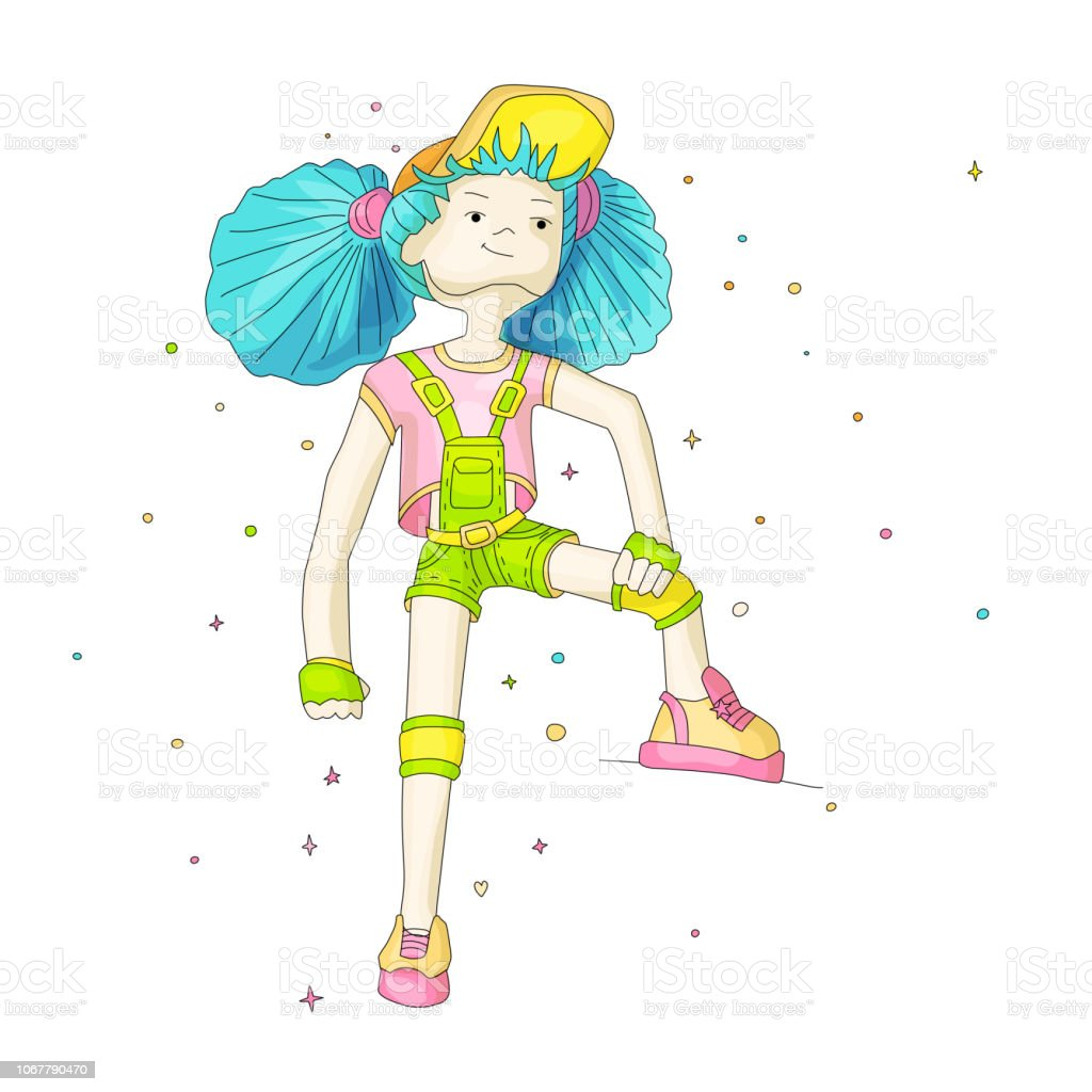 Young Girl With Blue Hair In Baseball Cap And Overalls Vector