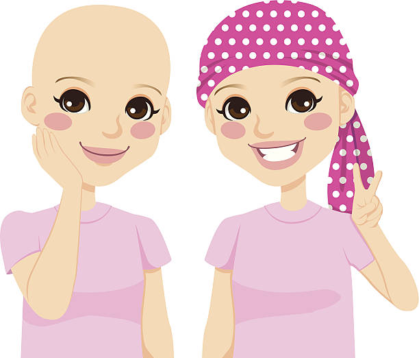 young girl with cancer - cancer patient stock illustrations
