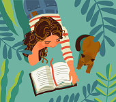 istock Young girl with cat in the garden. Girl reads a book. Nature landscape background. Summer holidays illustration. Vacation time 1210886280