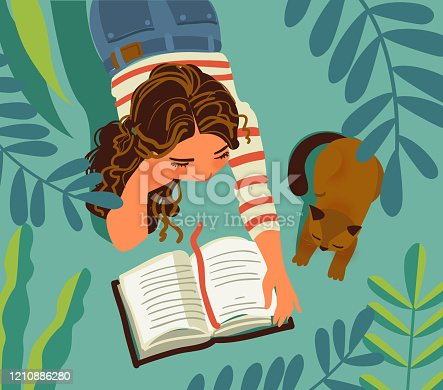 Young girl with cat in the garden. Girl reads a book. Nature landscape background. Summer holidays illustration. Vacation time