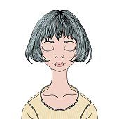 A young girl with closed eyes. Vector portrait illustration, isolated on white.