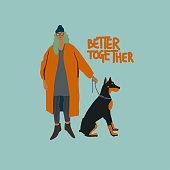 Young girl with Doberman terrier dog. Autumn fashion look. Vector flat illustration