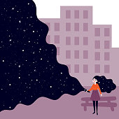 A young girl holding a flashlight shines in the dark and open deep space, stars and sky. Concept of searching, adventure, secrecy and nightdreams. Background is cityscape. Vector flat illustration