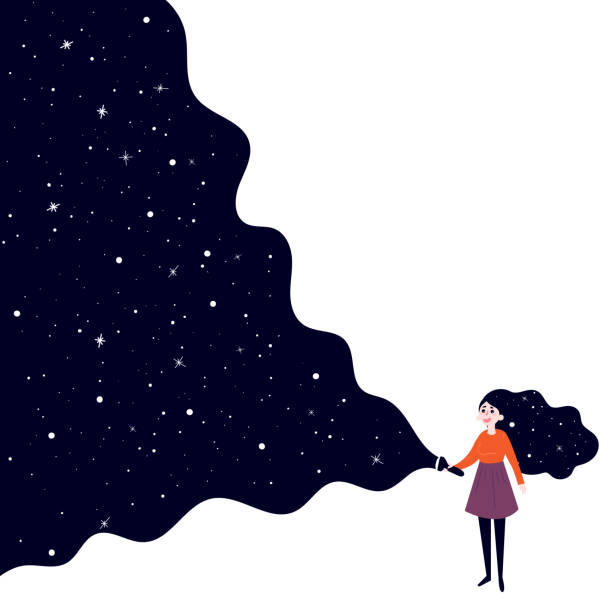 Young girl with flashlight to deep space A young girl holding a flashlight shines in the dark and open deep space, stars and sky. Concept of searching, adventure, secrecy and nightdreams. Background is white. Vector flat illustration flashlight stock illustrations