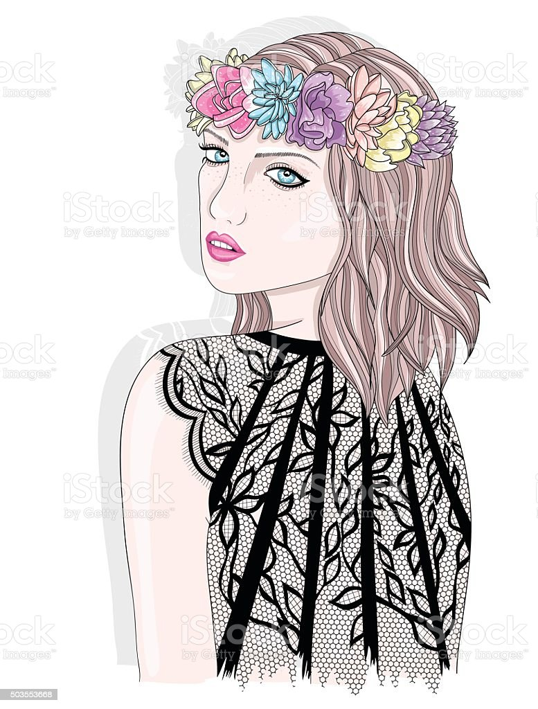 Young Girl With Flower Crown Fashion Illustration Stock Vector Art