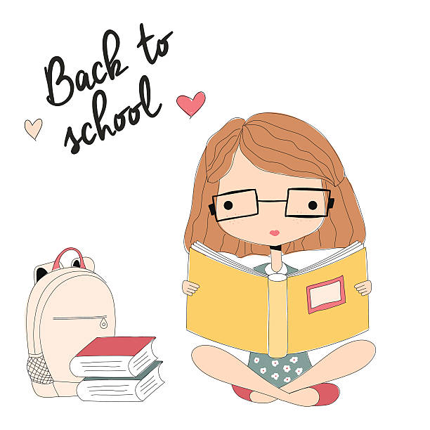 Young girl with glasses reading a book, back to school vector art illustration