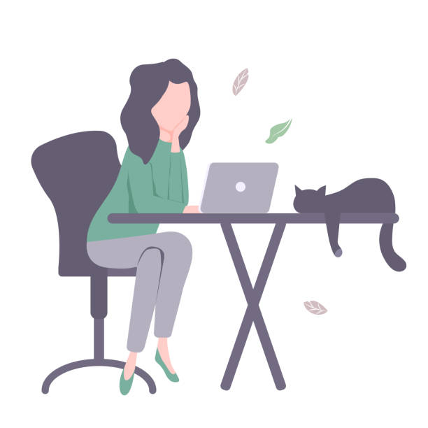 young girl with laptop and cat. - working from home stock illustrations
