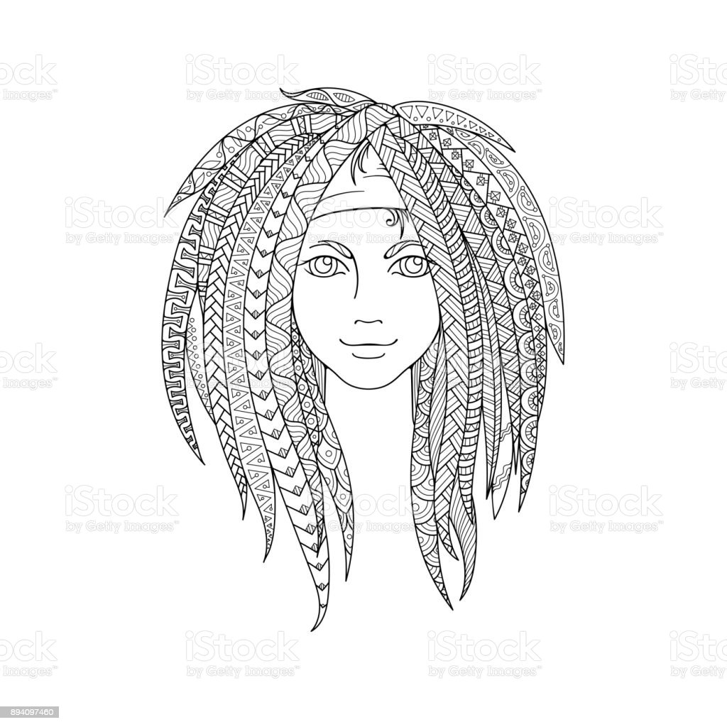 Young Girl With Patterned Dreadlocks Ornate Hairstyle Stock Vector ...