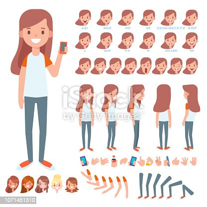 Front, side, back, 3/4 view animated character. Separate body parts. Cartoon style, flat vector illustration.