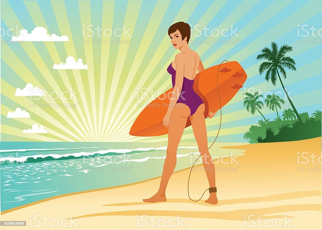 Young Girl With Surfing Board at Sunrise vector art illustration