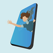 Young girl trying to escape from the phone