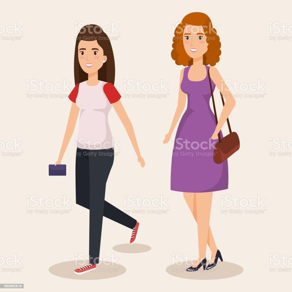 unga flickor avatarer tecken - Royaltyfri Akademikeryrke vektorgrafik