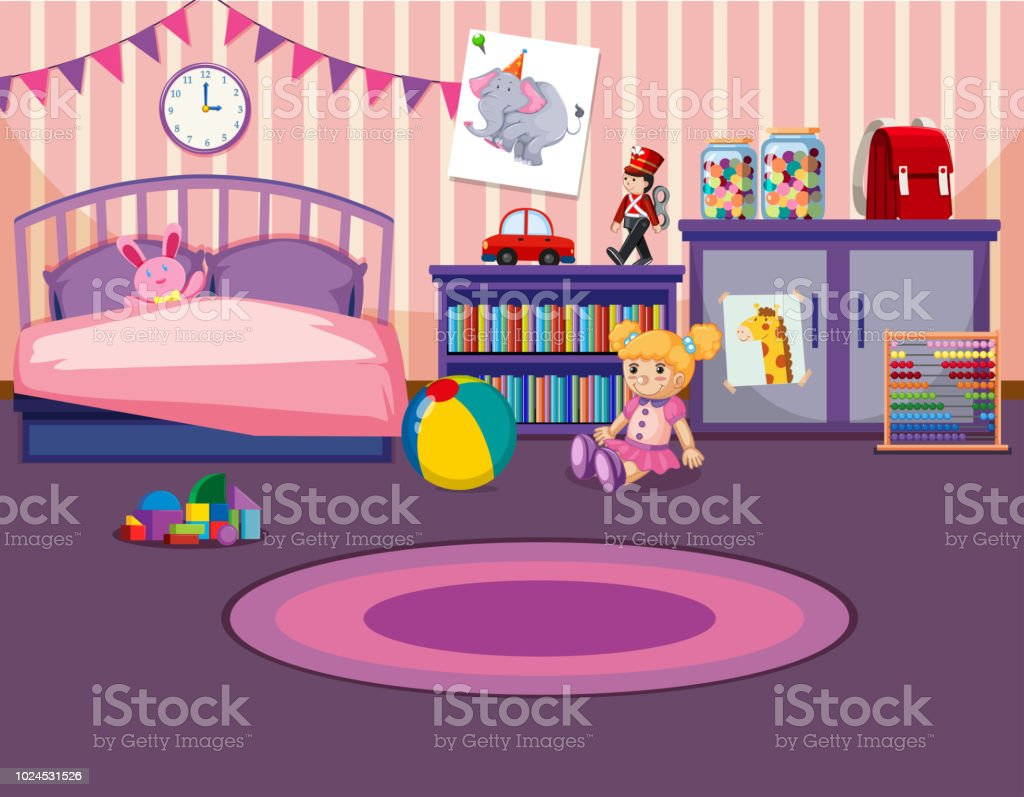 Young Girls Bedroom Interior Royalty Free Stock Vector Art Amp