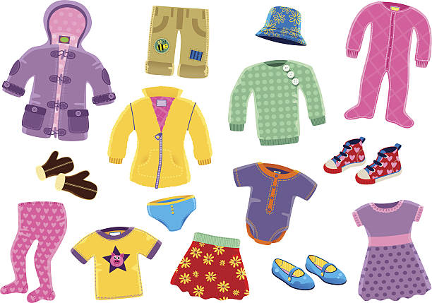 Young girls clothing items A collection of 15 isolated pieces of young girls typical clothing. Items include; coat, fleece top, skirt, leggings, sheepskin gloves and under garments. baby clothing stock illustrations