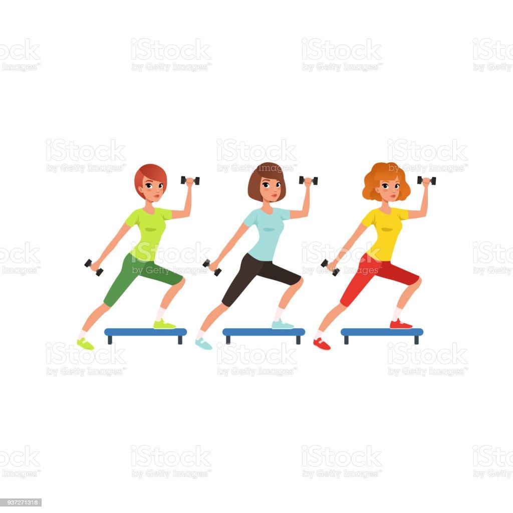 Junge Mädchen Machen Fitness Übung Mit Hanteln Und Schrittplattform ...