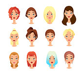 Young girls faces flat vector illustrations set. Cartoon female characters pack. Trendy appearance changing concept. People portraits, cliparts collection on white background isolated drawing