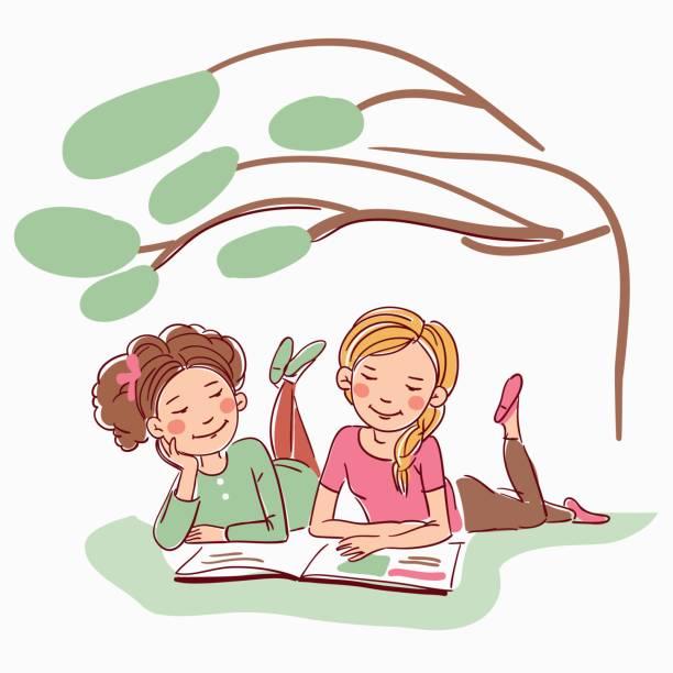 illustrazioni stock, clip art, cartoni animati e icone di tendenza di young girls reading a book under the tree - woman portrait forest