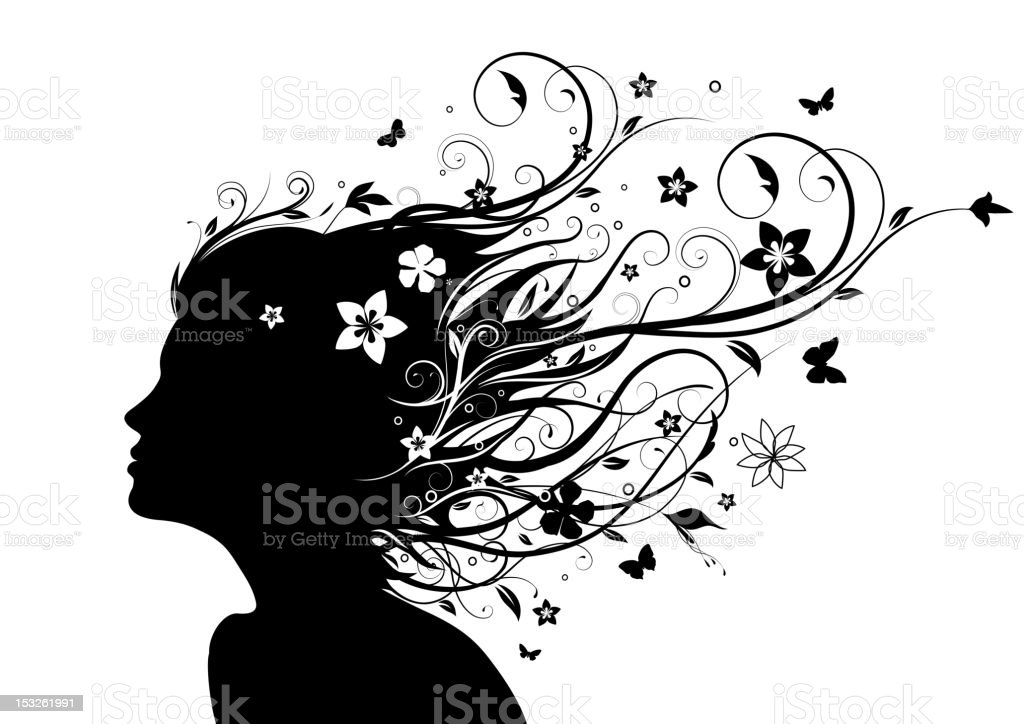 Young girl's silhouette. Youth and nature concept vector art illustration