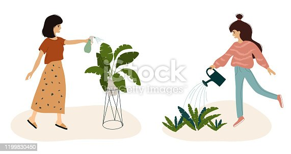 Cute girls watering plant at garden, cozy home. Young women taking care of houseplants, spray leaves by sprayer, growing flower in pot. Vector illustration of urban jungle, lifestyle, slow life, hobby