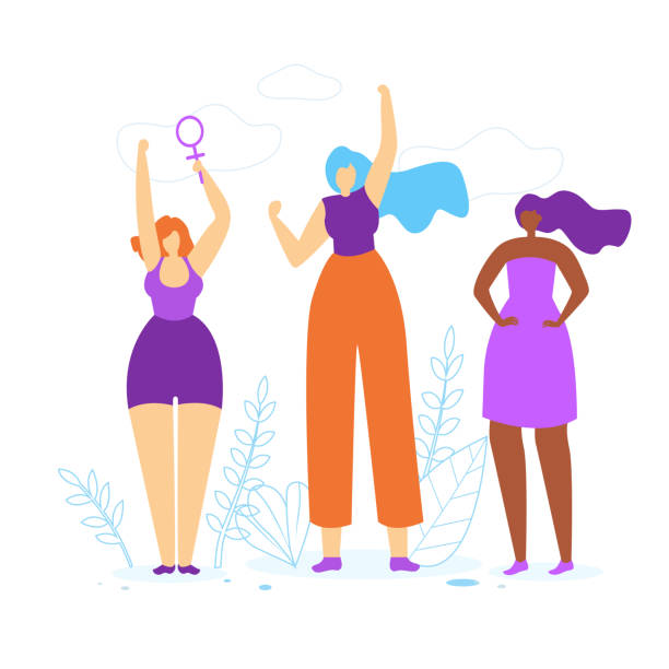 Young Girls with Hands Up. Woman Empowerment Idea Young Girls with Hands Up. Diverse International and Interracial Women. Female Power Symbol in Hand, Feminism and Feminine, Woman Empowerment Idea. Togetherness. Cartoon Flat Vector Illustration. community clipart stock illustrations