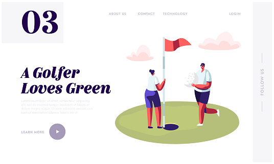 Young Golfers Couple Playing Golf Website Landing Page, Man Golf Player Put Ball into Hole on Green Course, Woman Hold Flag, Countryside Golfclub Web Page, Cartoon Flat Vector Illustration, Banner