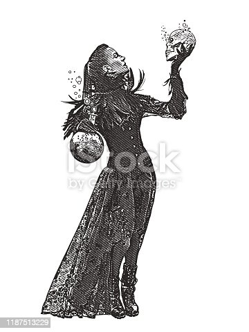 Young Goth woman holding skull and potion