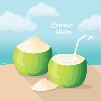 Young Green Coconut, Coconut Water, Fresh Coconut on The Beach