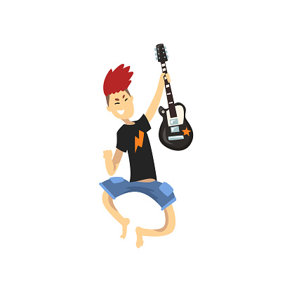 Young guitarist of rock band in jumping action. Guy with crazy hair wearing blue shorts and black t-shirt. Cartoon kid character with electric guitar. Flat vector design