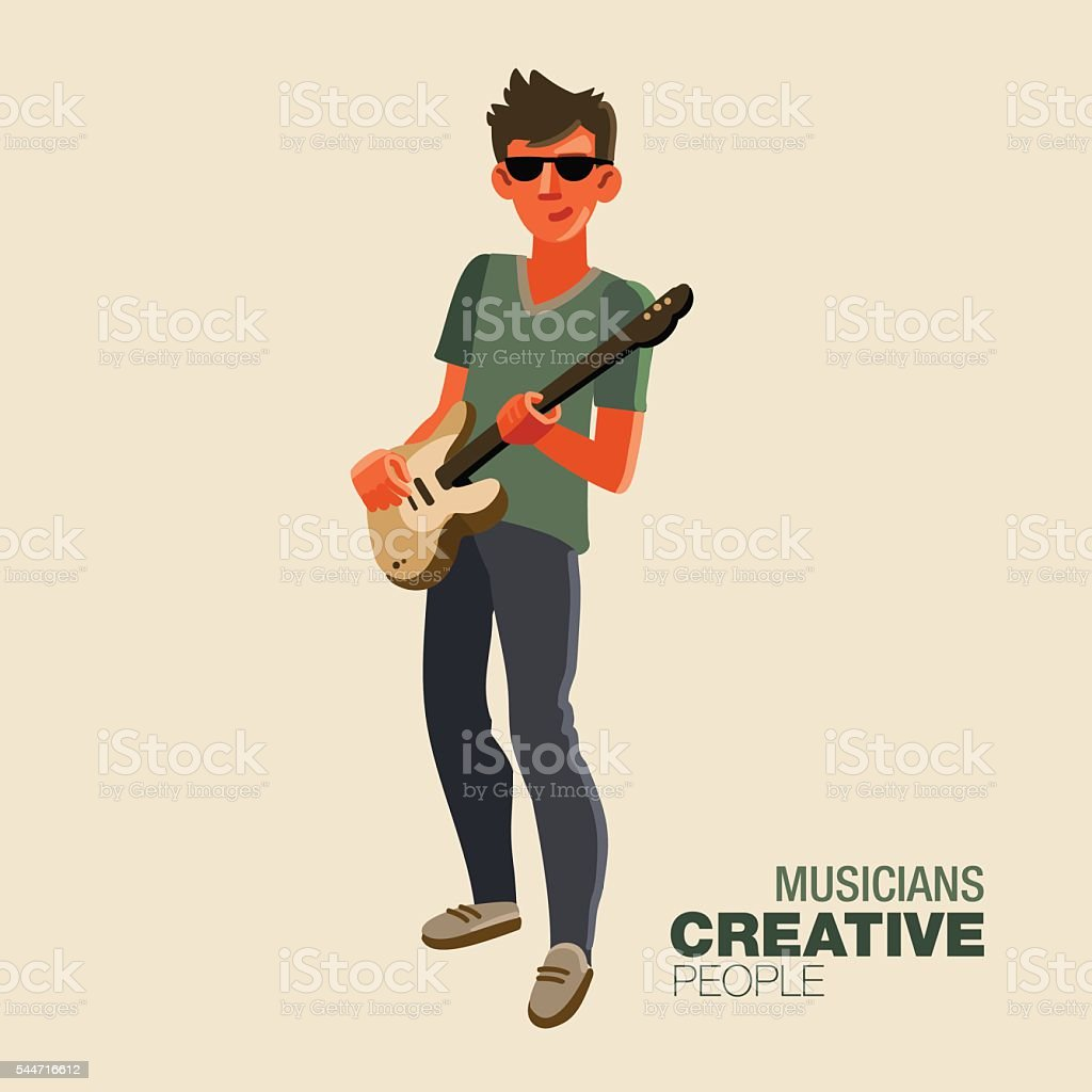 Young guitarist plays on the electric guitar. Creative people vector art illustration