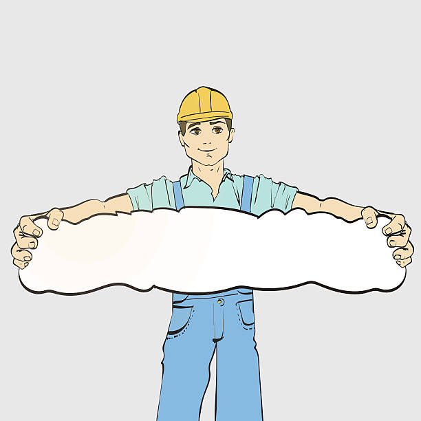 bildbanksillustrationer, clip art samt tecknat material och ikoner med young guy builder in work clothes, worker - working from home