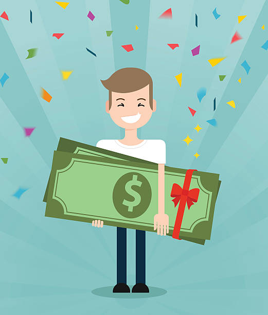 Young  guy enjoying and holding huge gift pack of green Young brunette guy really happy enjoying and holding huge gift pack of green money/dollars with both hands. Win in a lottery concept incentive stock illustrations
