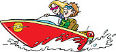 istock Young guy with a girl ride a boat 1199171491