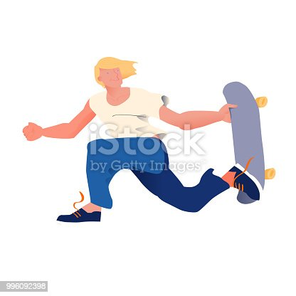 istock Young guy with golden hair on skateboard. The skateboarder does a trick in a jump. Flyer or poster for goods for sportsmen skateboarders. Cool dude man. Flat vector illustration. 996092398