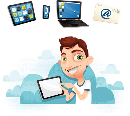 Young guy with tablet - In the cloud!