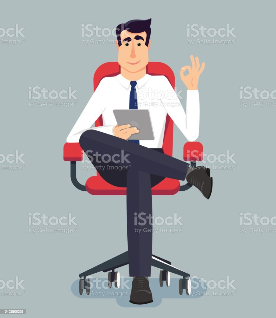 Young handsome businessman sitting on a wheelchair. He holds a tablet in the hands. Vector illustration in modern flat style for web banners, info graphic and graphic design. vector art illustration