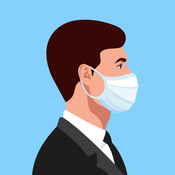 young handsome guy, businessman in a medical face mask profile avatar. covid19 protection concept. vector illustration. - covid testing stock illustrations