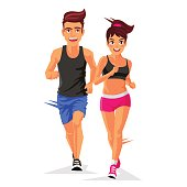 Young handsome man and a woman running