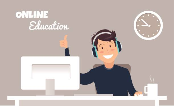 Young handsome man in headphones sitting at a table and working with computer in a home office. Young handsome man in headphones sitting at a table and working with computer in a home office. Online education concept. Vector illustration man on computer stock illustrations