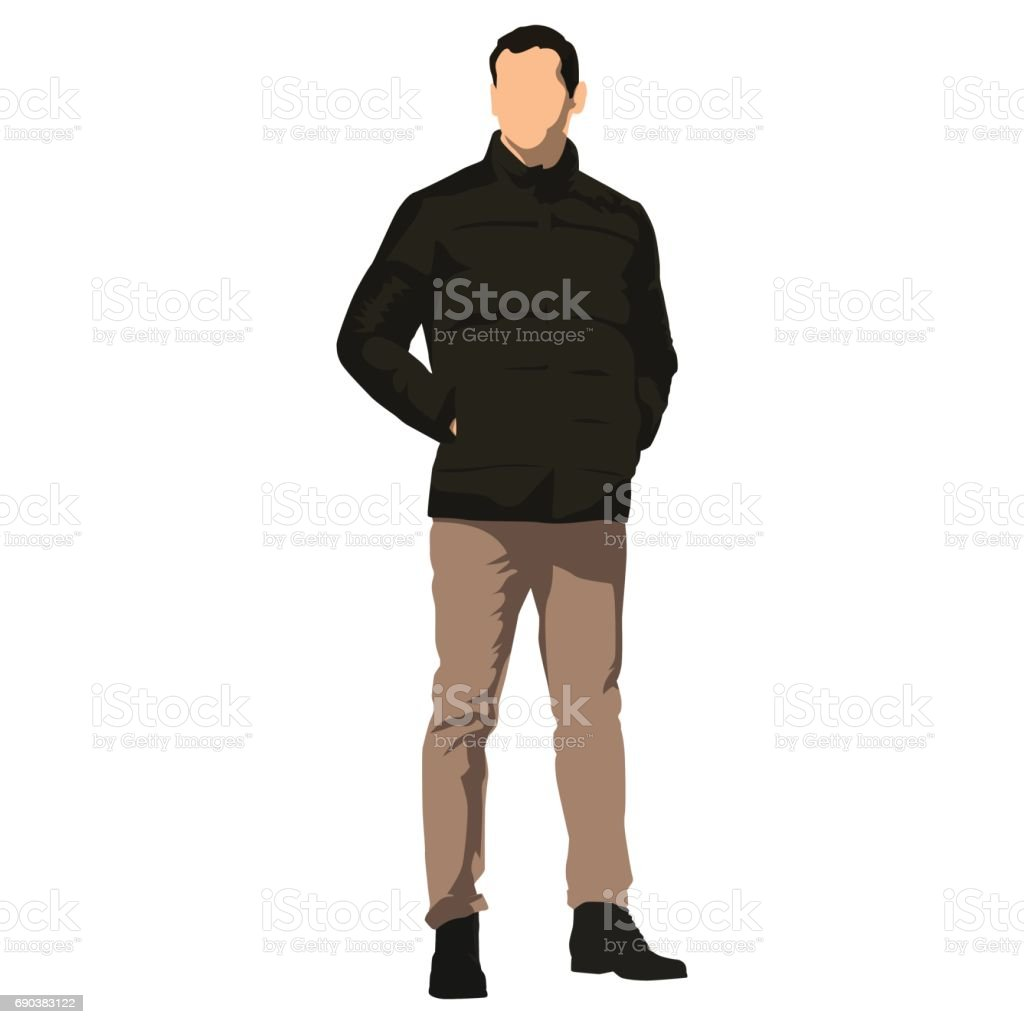 Young handsome man standing in winter clothing. Dark jacket vector art illustration