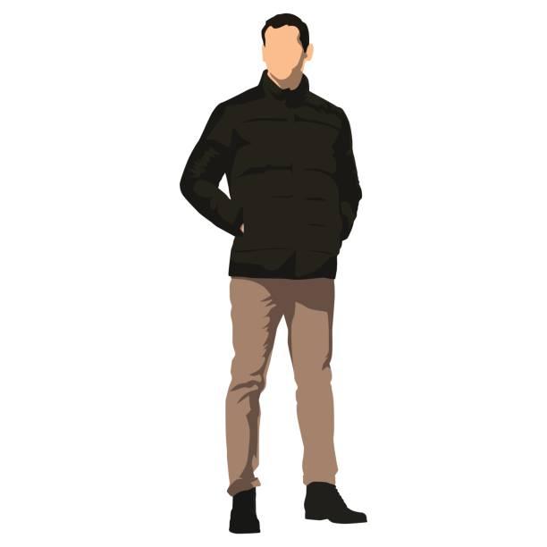 ilustraciones, imágenes clip art, dibujos animados e iconos de stock de joven guapo hombre parado en ropa de invierno. chaqueta oscura - moda de hombre