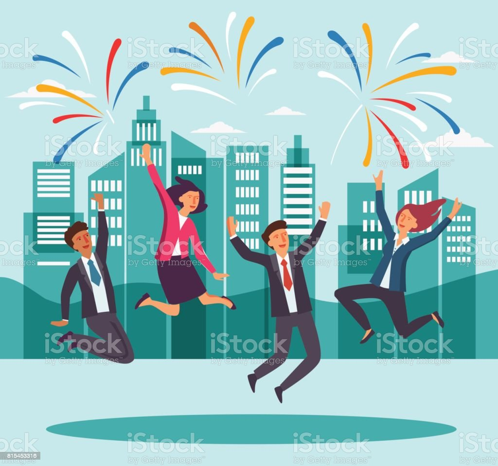 Gens d'affaires heureux jeune sautant dans la rue de la ville. Succès, souriant d'hommes et femmes célébrant la victoire - Illustration vectorielle
