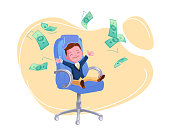 Young happy businessman in office chair under money rain. Financial education concept. Business success design. Stress-free time management, good earnings profit vector isolated on white background.