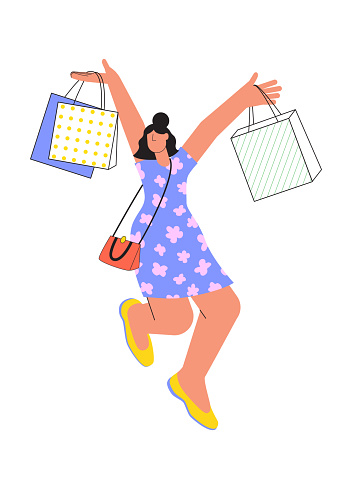 Young happy cheerful woman, girl cartoon character jumping with shop bags. Shopping, purchase concept.