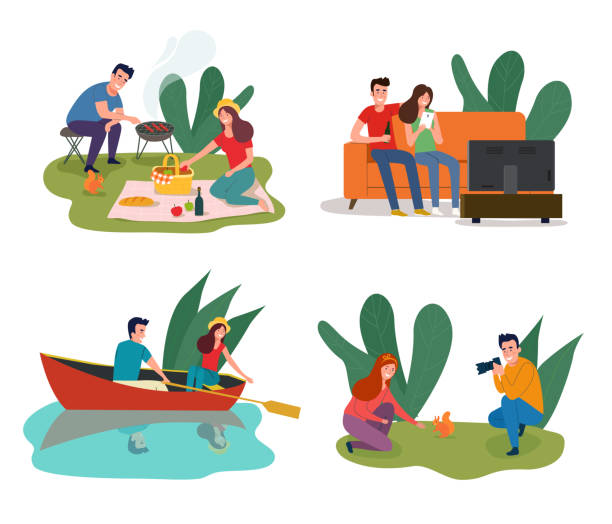 Young happy couple having picnic in the park, sitting on sofa and watching TV, sailing in a boat, Man photographing a girl. Vector flat illustration Young happy couple having picnic in the park, sitting on sofa and watching TV, sailing in a boat, Man photographing a girl. Vector flat illustration watching tv stock illustrations