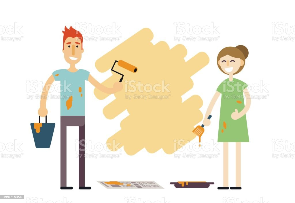 Young happy couple with paint tools doing repair. Man and woman redecorating home. Smiling family doing face-lift in flat or apartment. Boy and girl renovate or decorate place. Home improvement vector illustration. vector art illustration