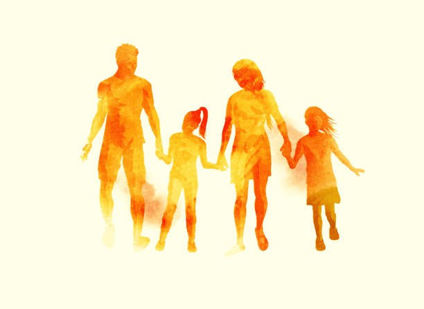 Young Happy Family watercolour Vector A young happy family walking together. Watercolour vector illustration. happy family stock illustrations