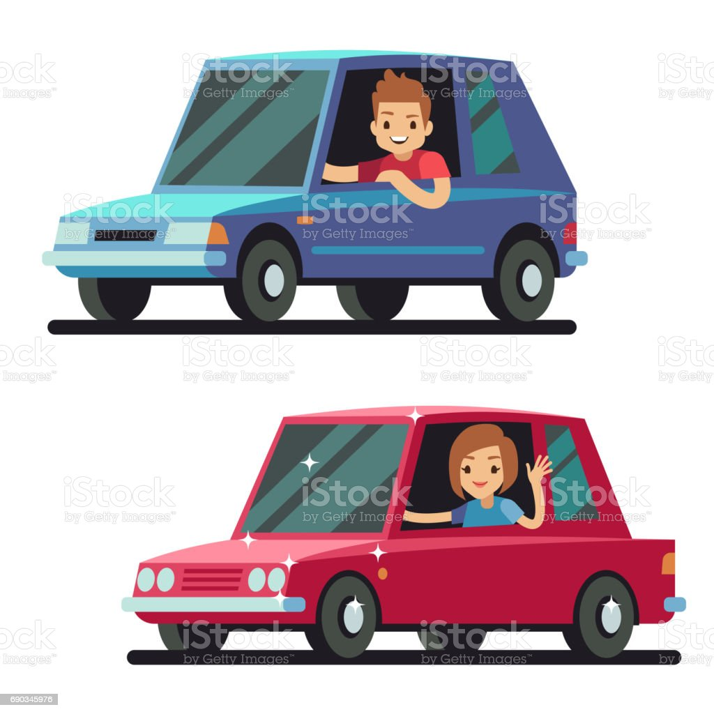 Young happy man and woman driver driving cars flat vector concept