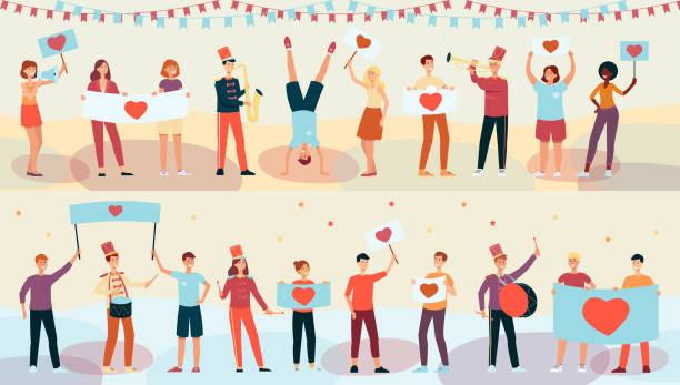 bildbanksillustrationer, clip art samt tecknat material och ikoner med unga lyckliga människor som håller plakat med hjärt bild, spelar musik och dansar i platt stil. - parad